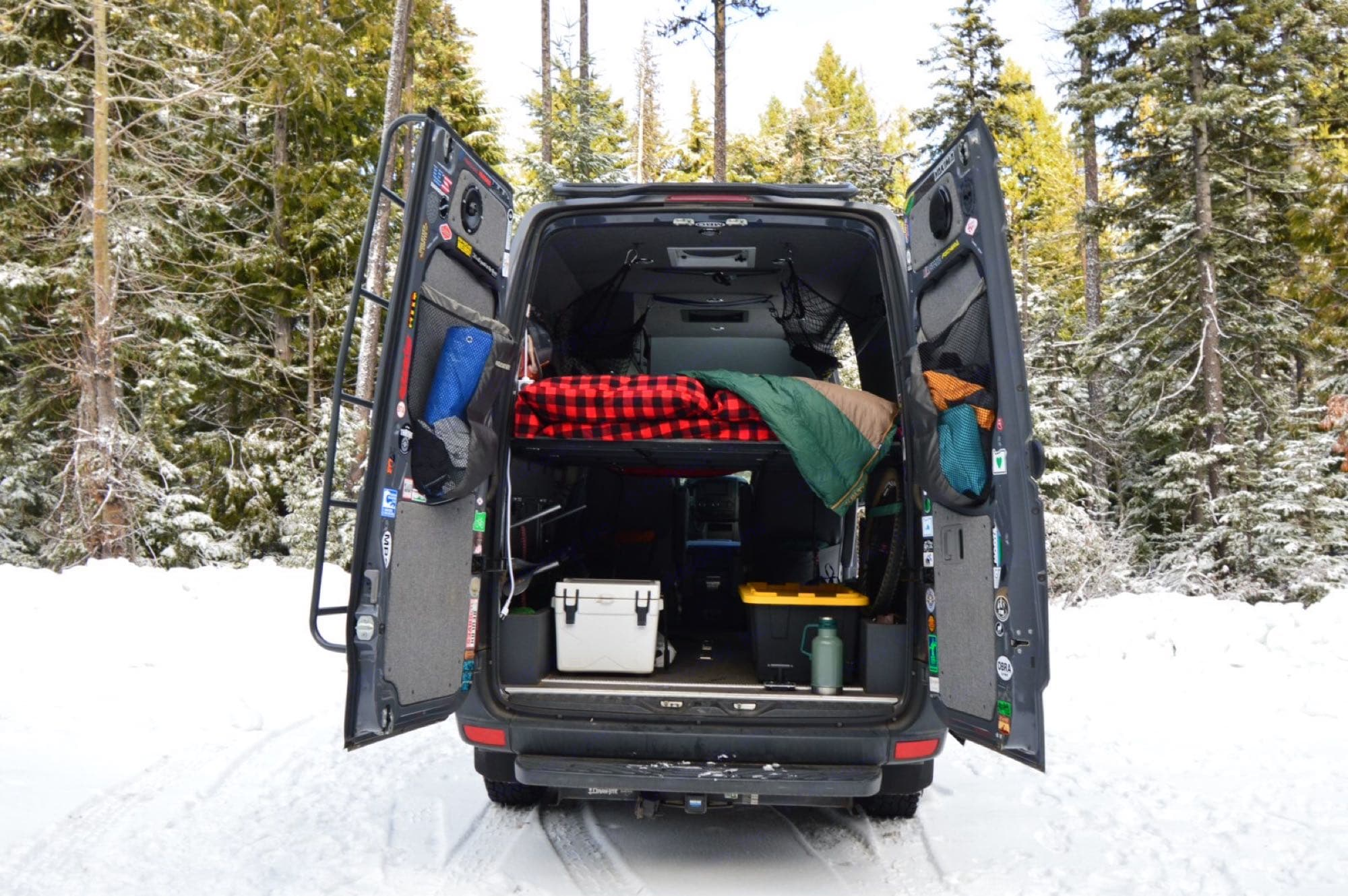 Rear view of the bed and storage underneath. Bedding provided.. Mercedes-Benz Sprinter 2013
