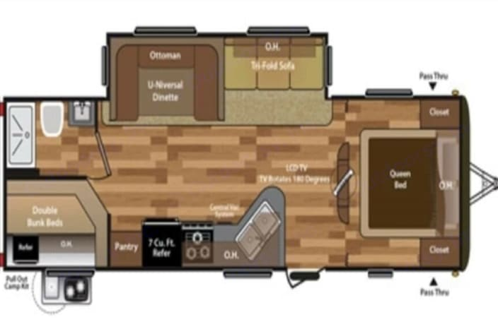 Floor plan showing the slide out area as well as the bathroom with shower and oversized bunk beds.. Keystone Hideout 2015