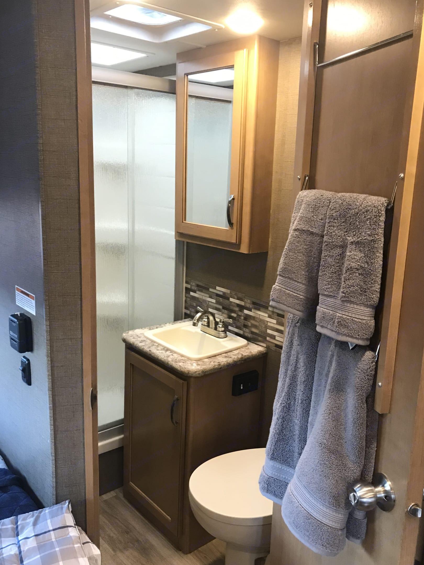 Good sized Bathroom. Thor Motor Coach Four Winds 2018