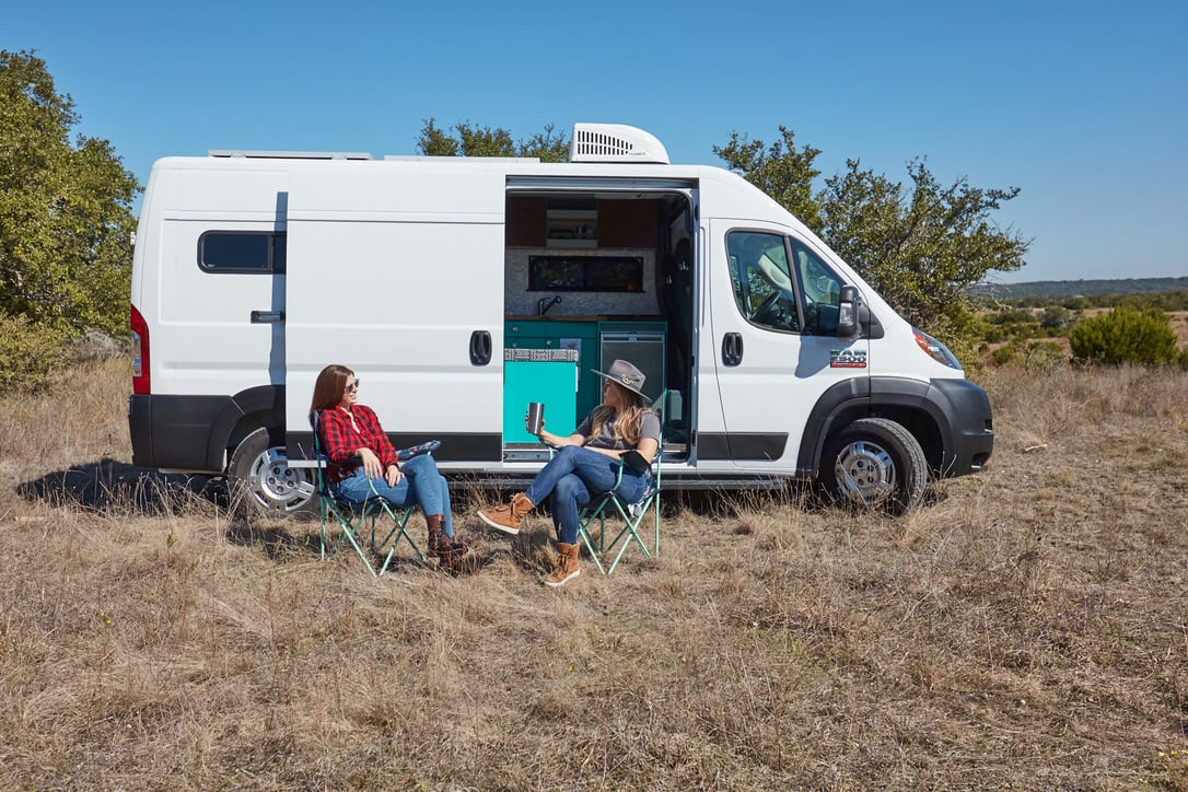 2 gals glamping it up!  Se. Dodge Promaster 2500 2019
