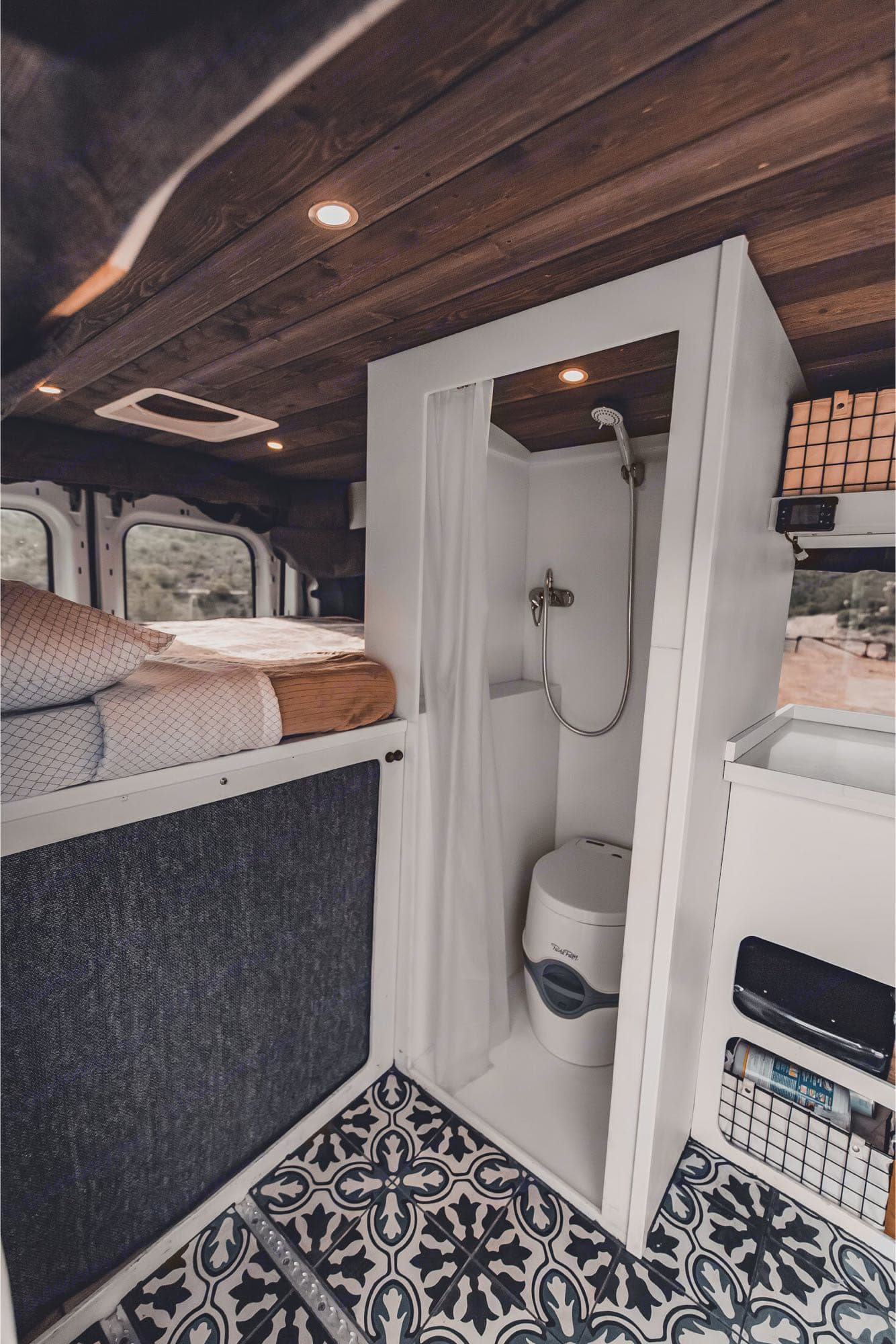 Toilet is removable for more shower space. Ford Transit 2015