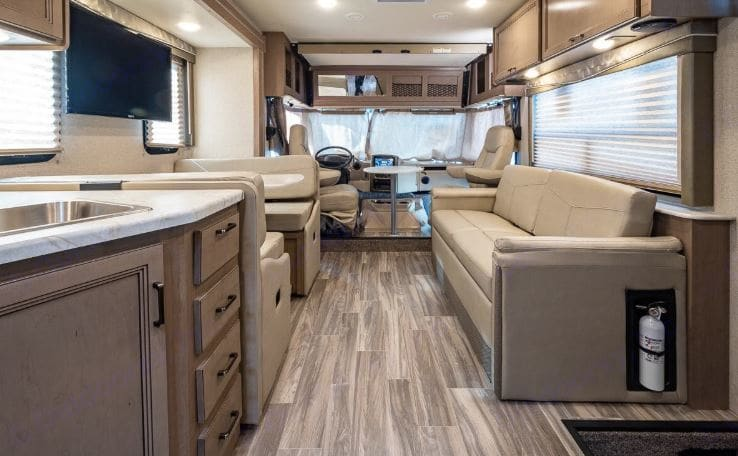 Long view of living quarters. Thor Motor Coach A.C.E 2020
