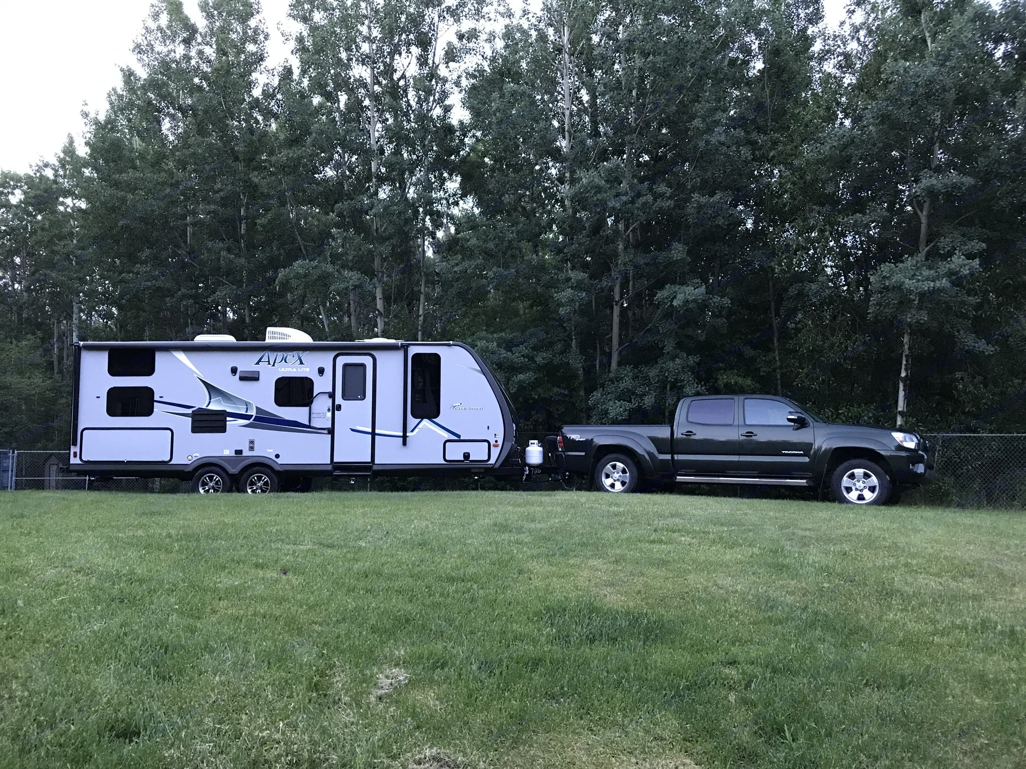 Easy to be hauled by smaller trucks, such as this Toyota Tacoma!. Coachmen Apex 2018