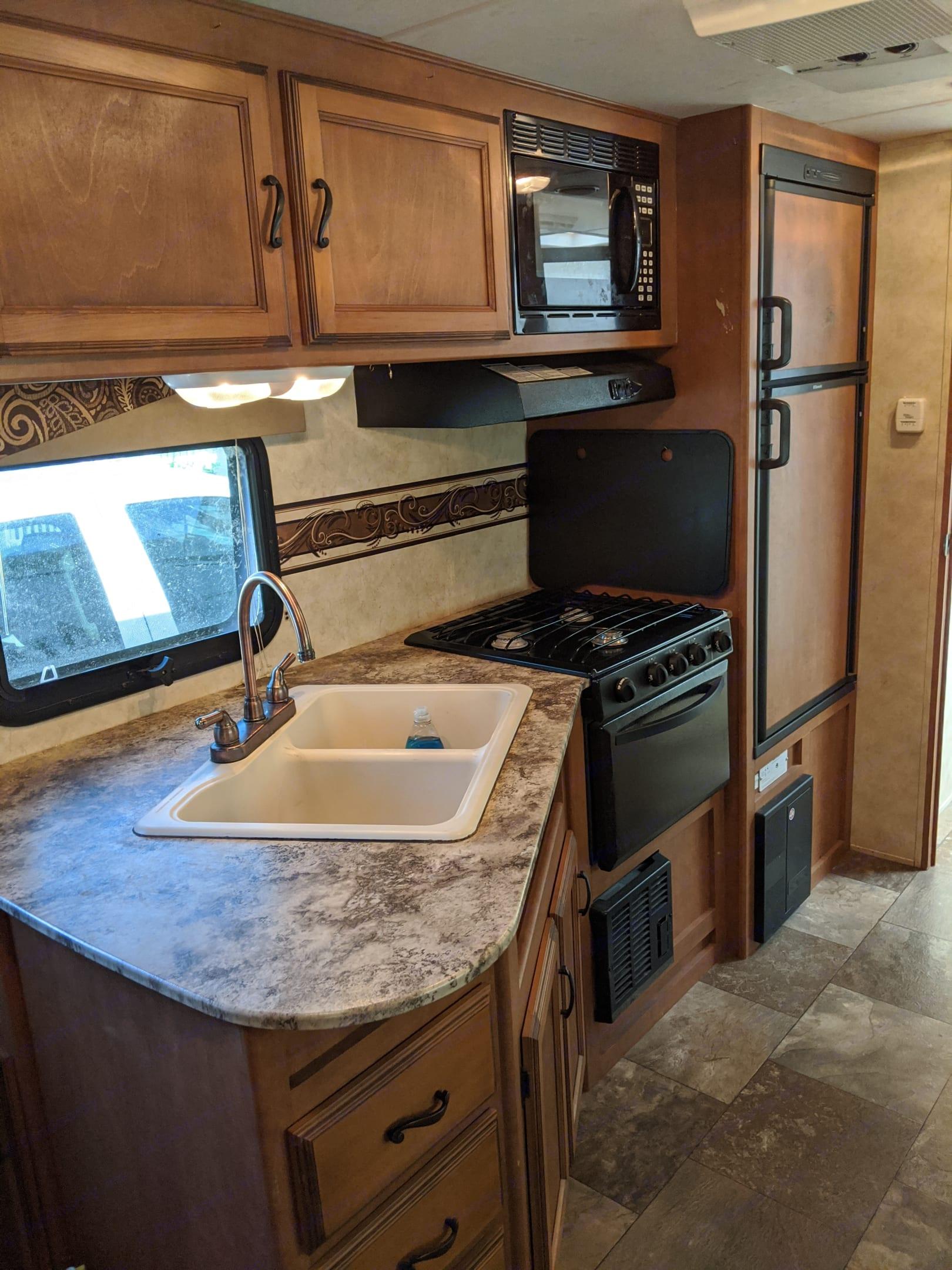 Kitchen and fridge. Coachmen Apex 2013