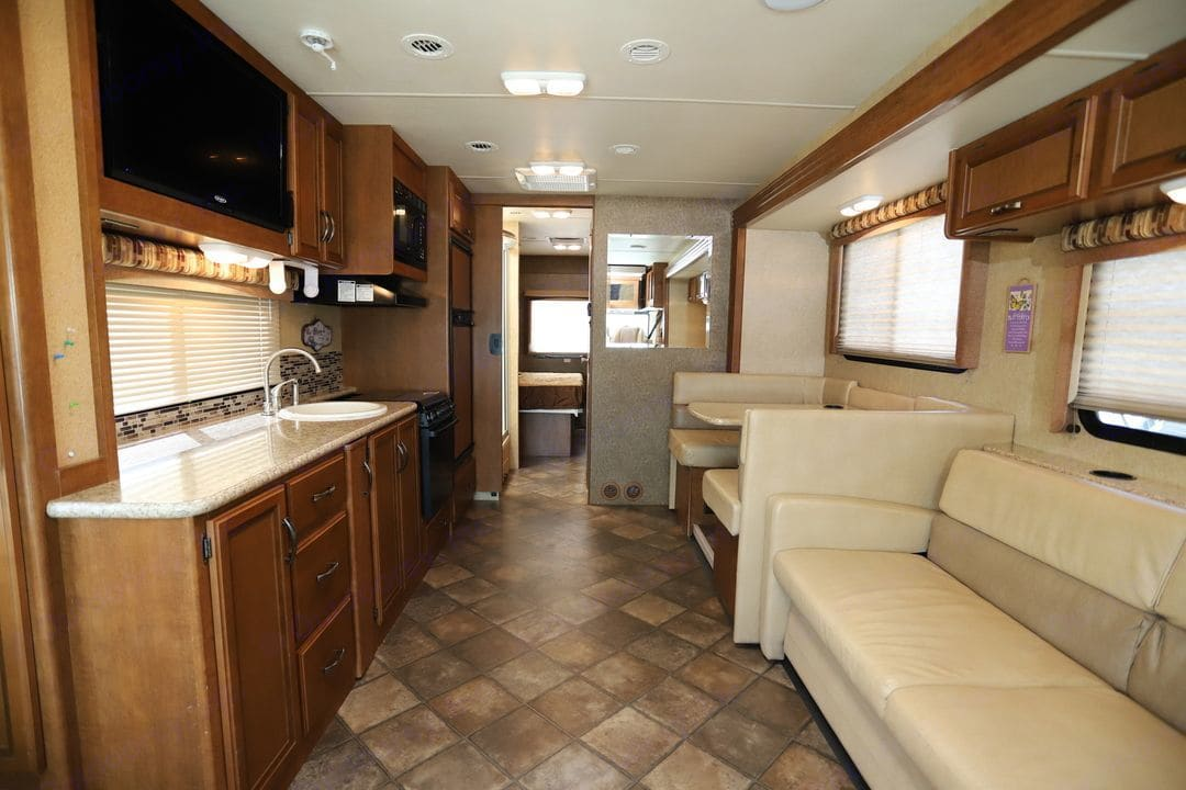 living room view from entrance. Thor Motor Coach A.C.E 2014