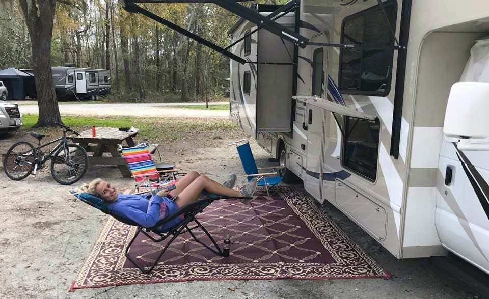 Lighted canopy and outside tv for outdoor fun. Thor Motor Coach Freedom Elite 2019