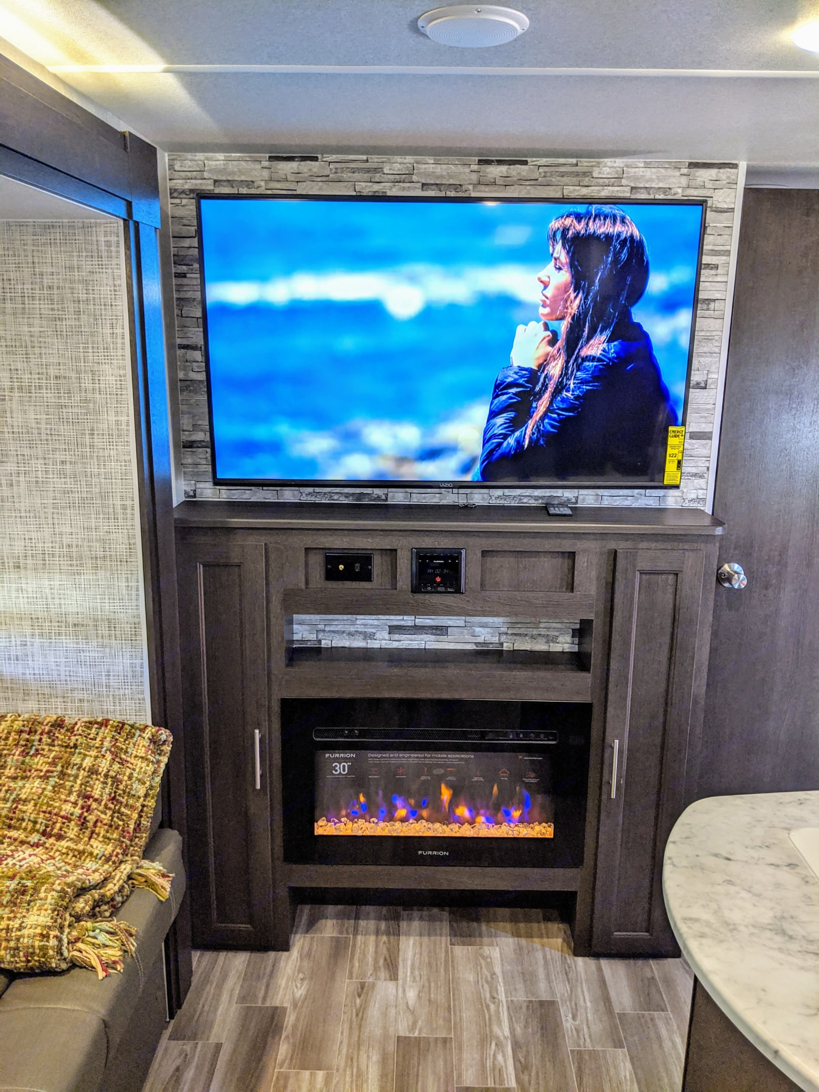 Flat screen and fireplace...sweet!!!. Forest River Wildwood X-Lite 2020