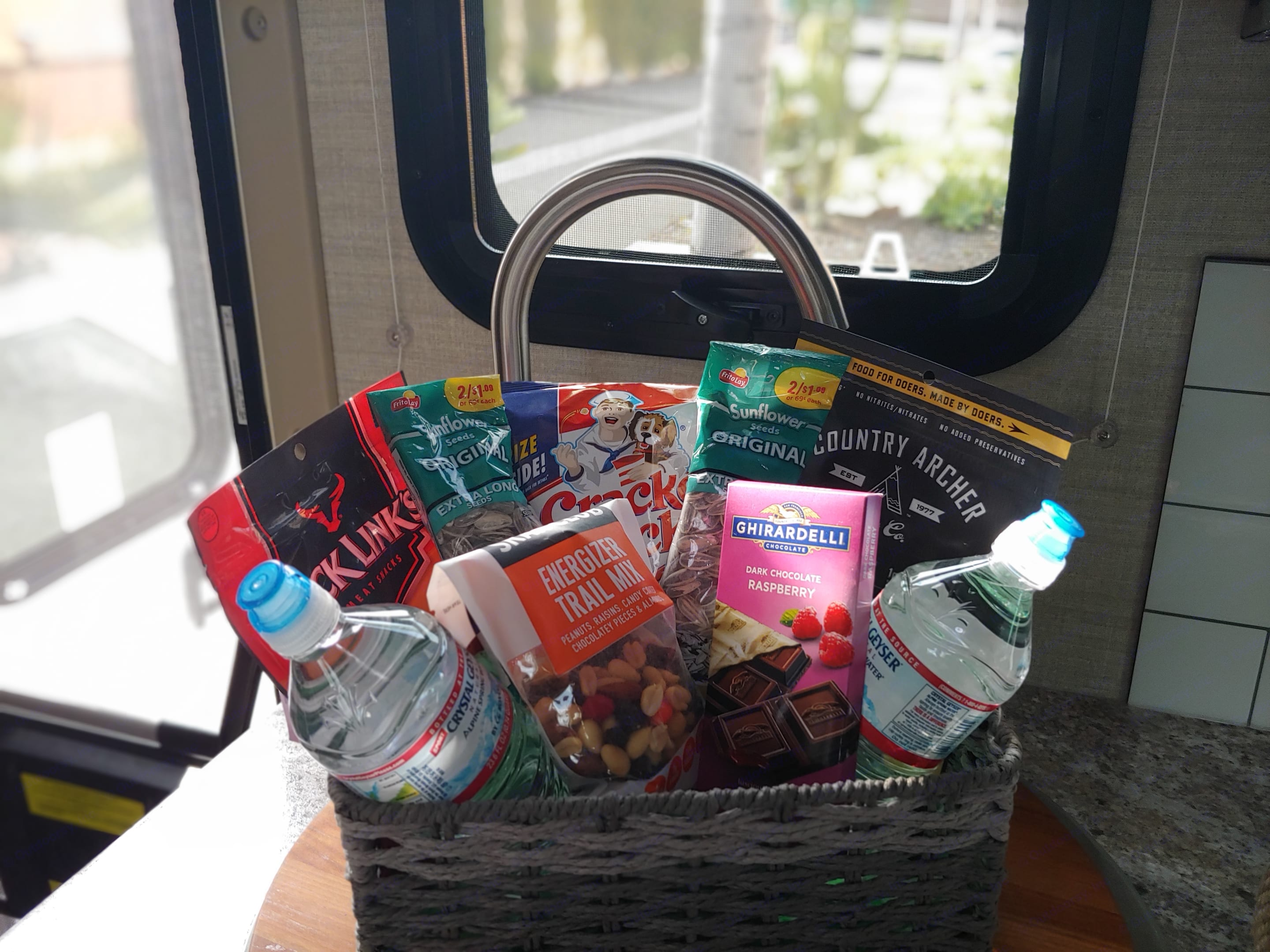 💥NEW💥 Hikers snacking kit. This entire kit includes waters, trail mix, beef jerky, sunflower seeds and popcorn. This is a complementary kit included with your rental. . Jayco Melbourne 2020