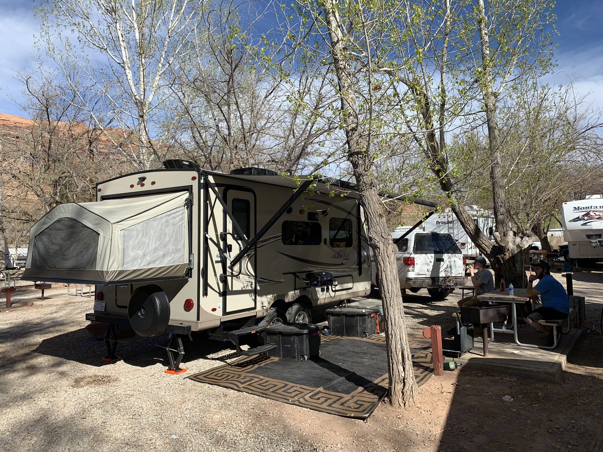 Set up in Moab for its first trip!. Forest River Flagstaff Shamrock 2018