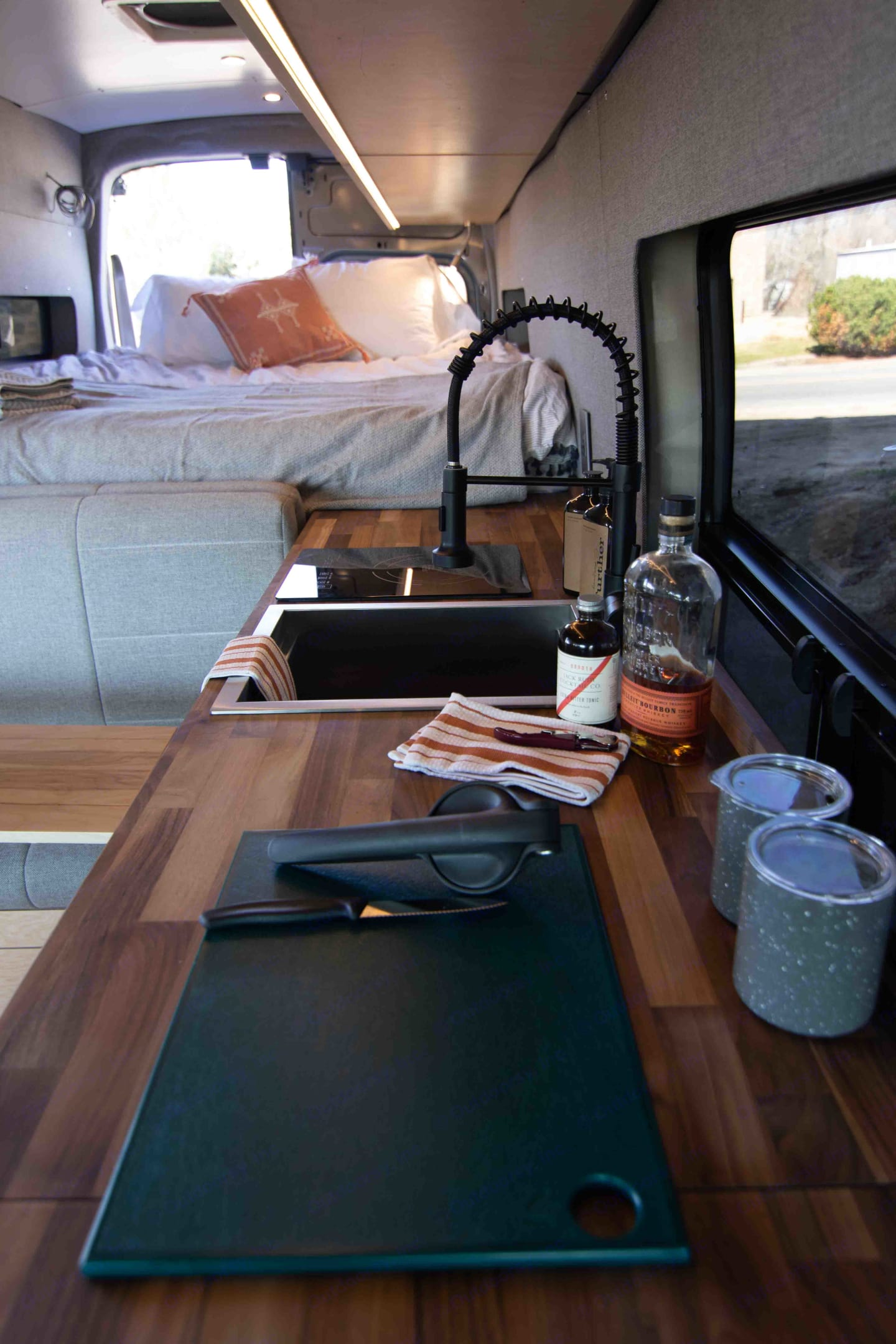 Walnut countertops and interior furnishings.. Ford Transit 2020