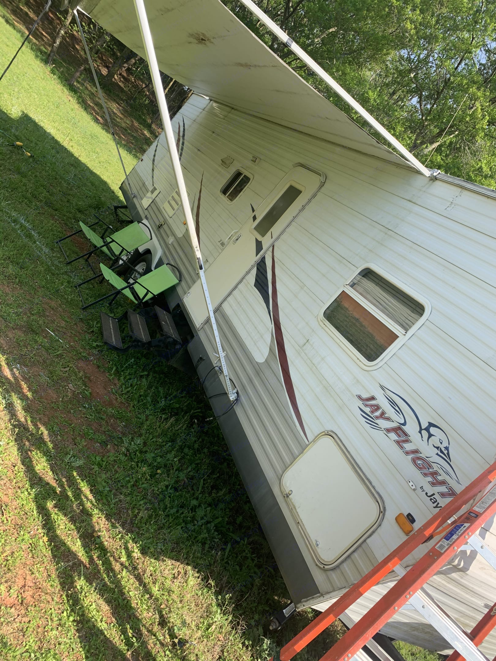 Front side of camper with awning. Jayco Flight 2008