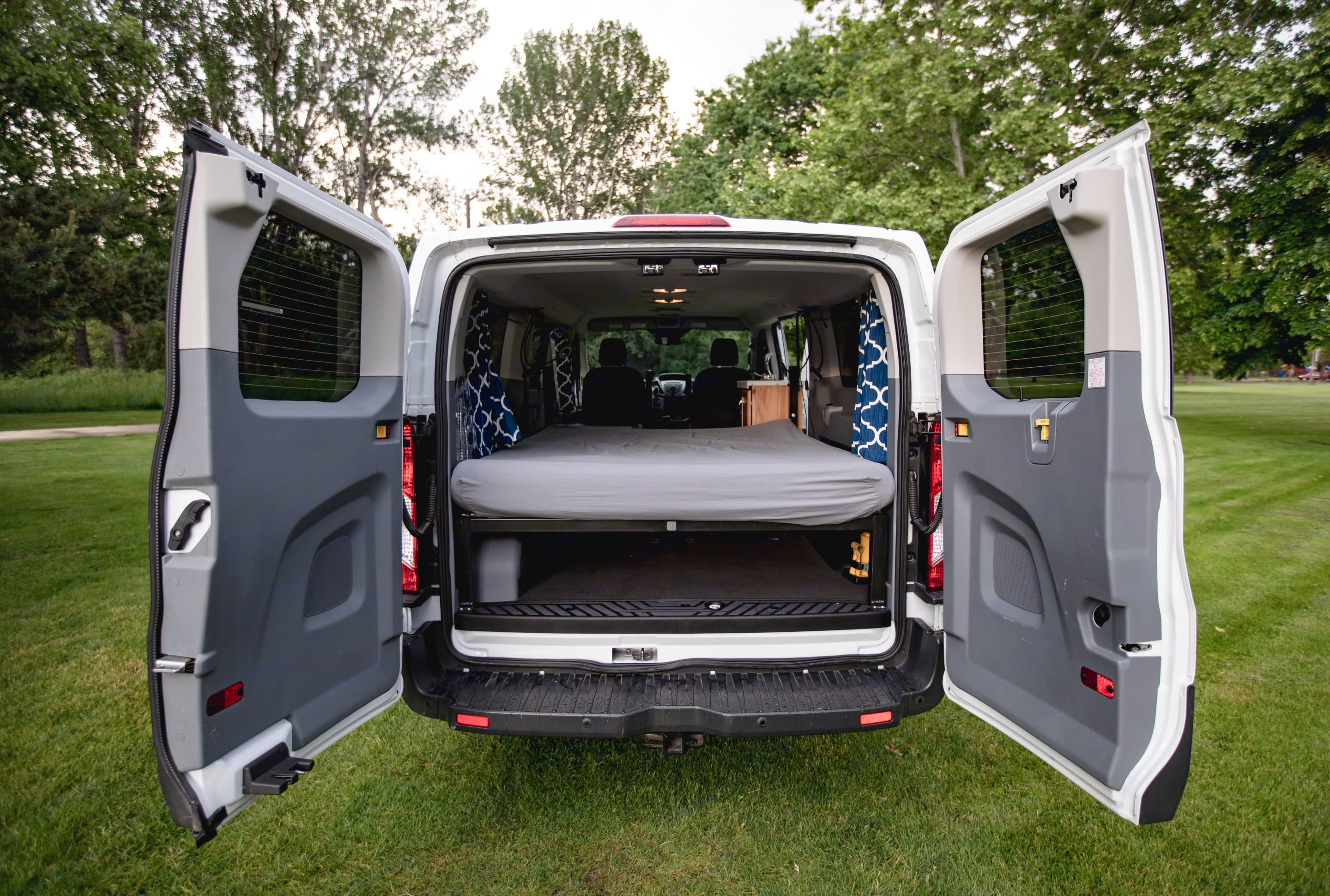 Looking into the back of the Van. Ford Transit 2015