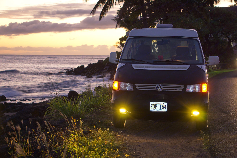 Finding a campsite in Hawaii. Volkswagen Eurovan 1999