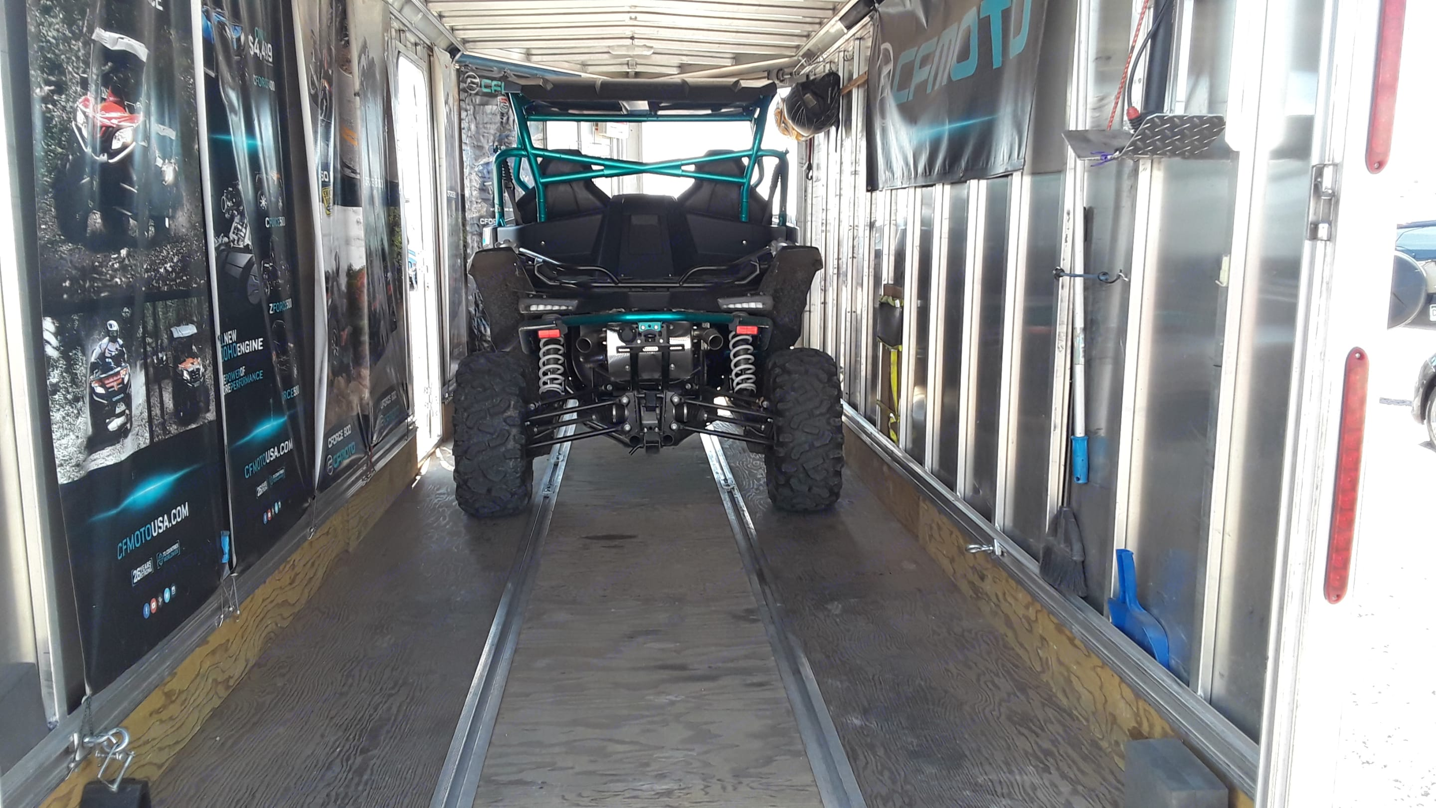 Plenty of Room for Two FUll size Side x Sides.. Triton 18' Cargo Trailer 2015