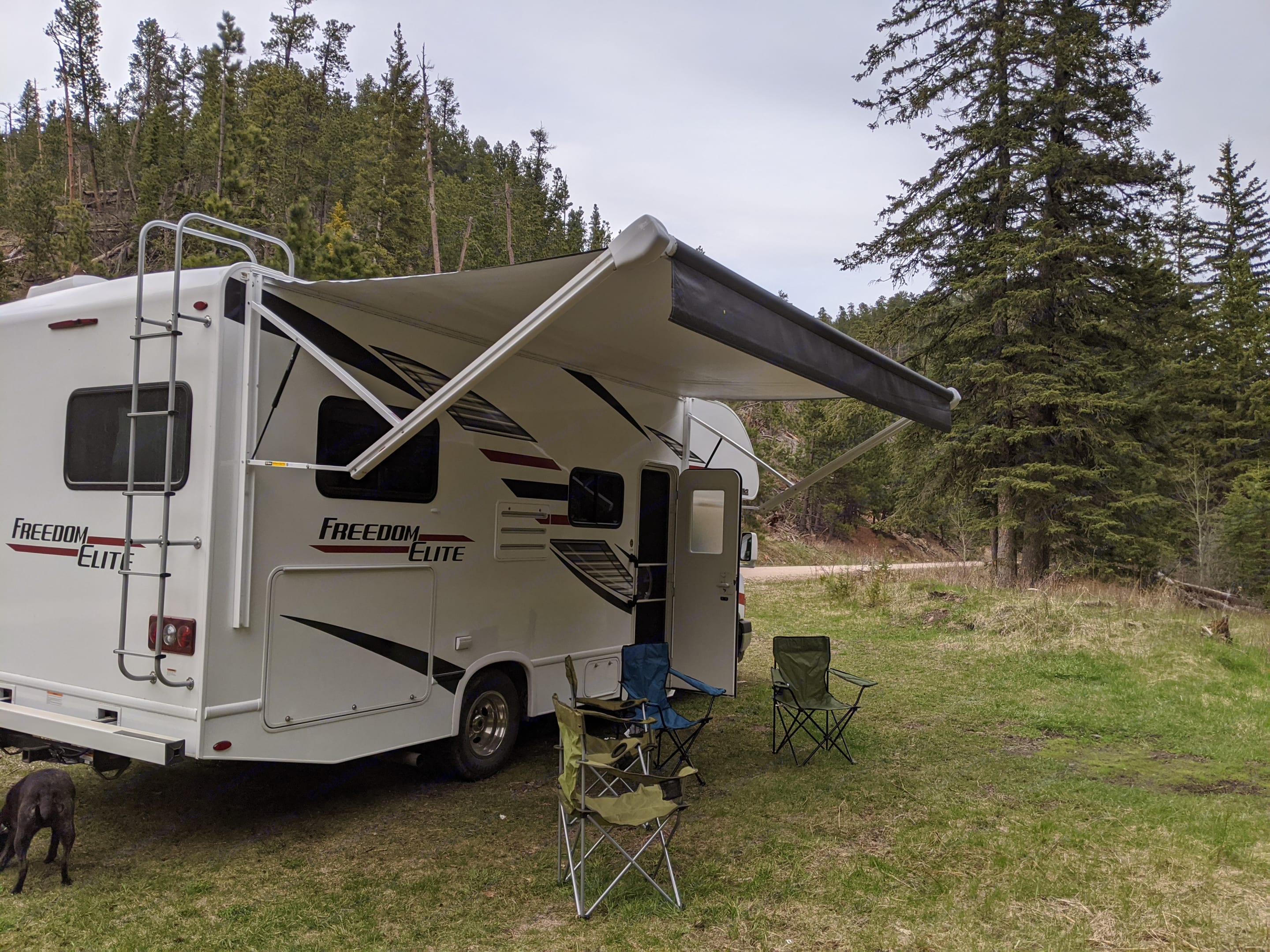 Awning out in the forest. Thor Motor Coach Freedom Elite 2020