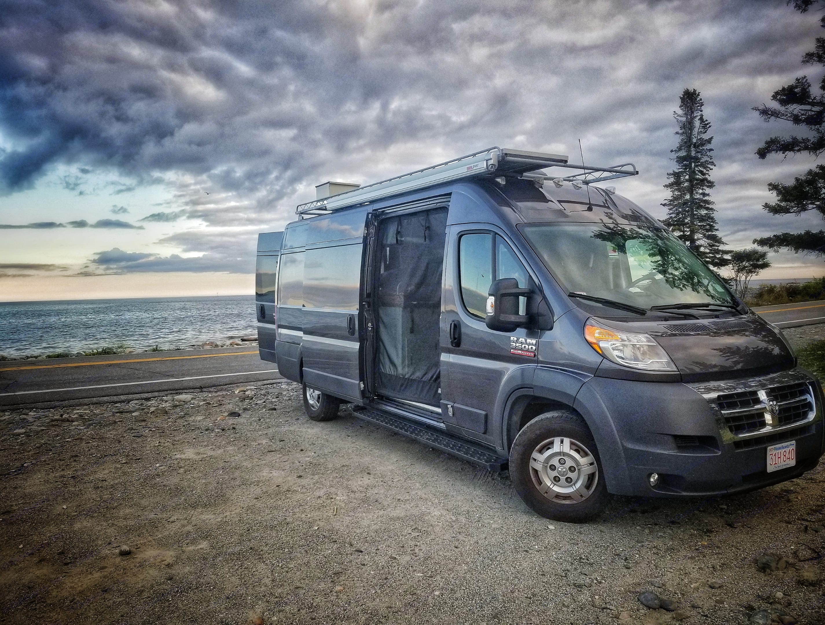 Acadia National Park.  Making dinner by the beach.. Dodge Promaster 3500 extended high roof 2016