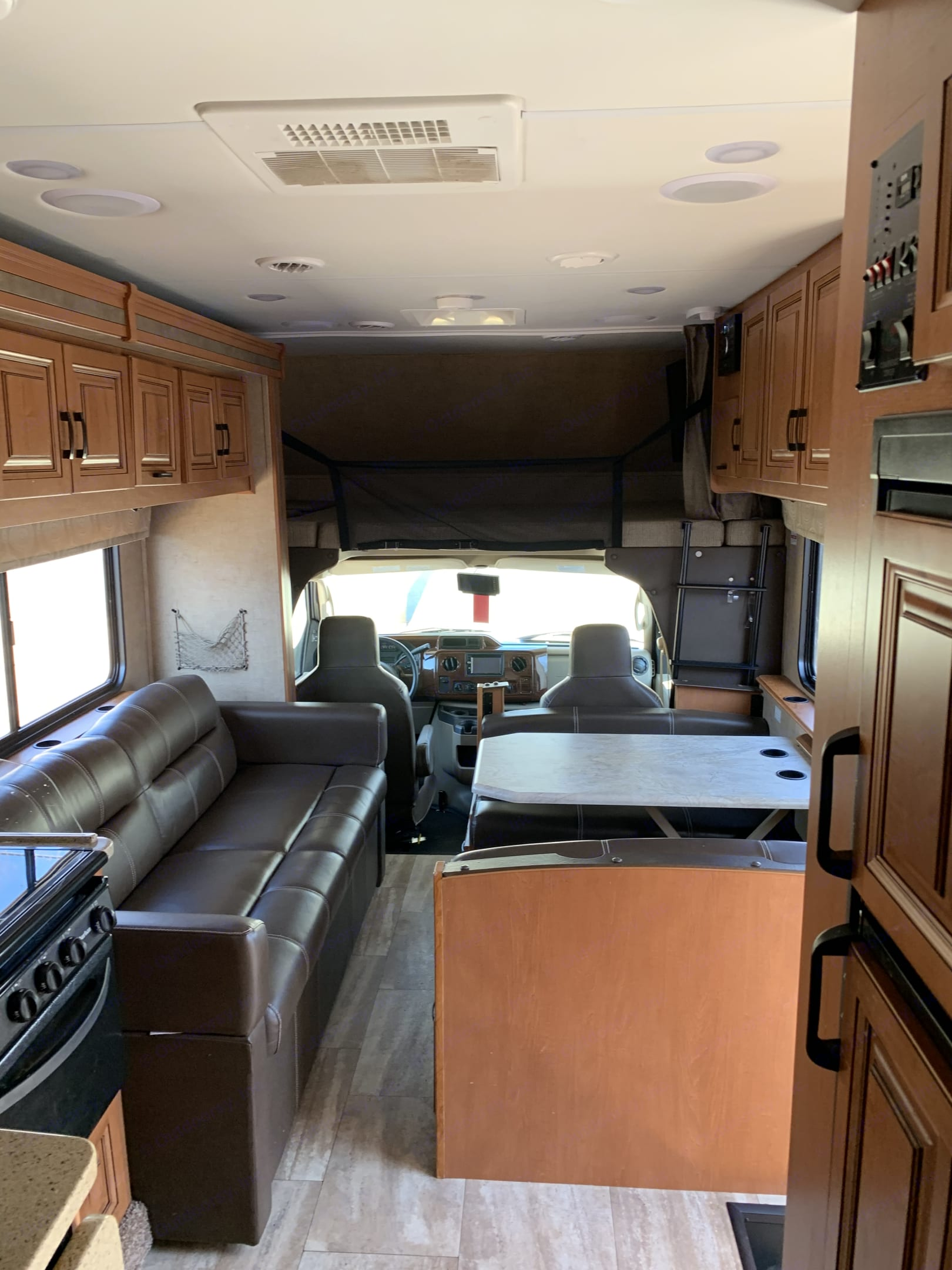 Couch is pull out and table can turn into sleeper if needed. Full bed over cab. Large TV. Forest River Forester 2017