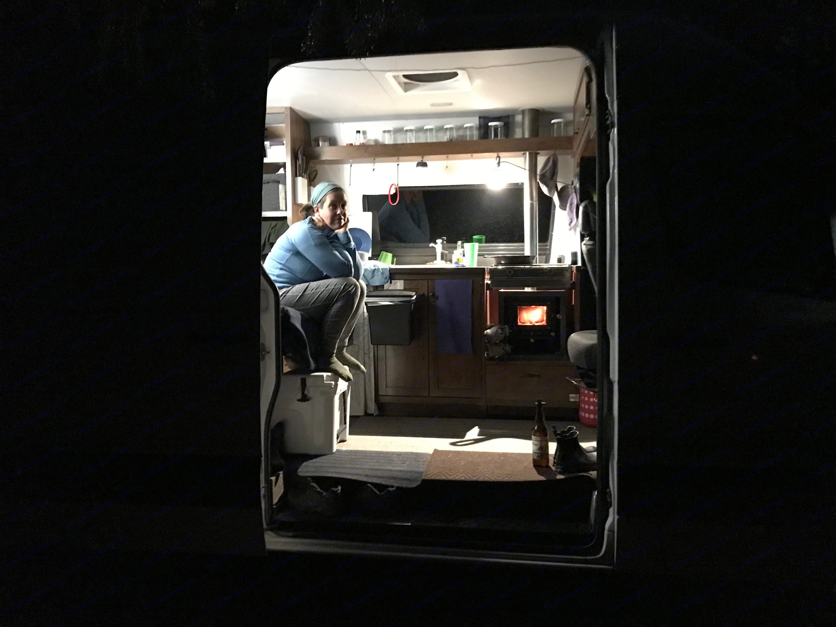 Yes that is a wood stove, perfect for cold nights. Dodge Sprinter Van 2008