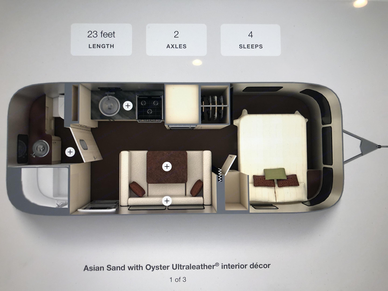 23' Serenity Floor plan. Airstream International 2019
