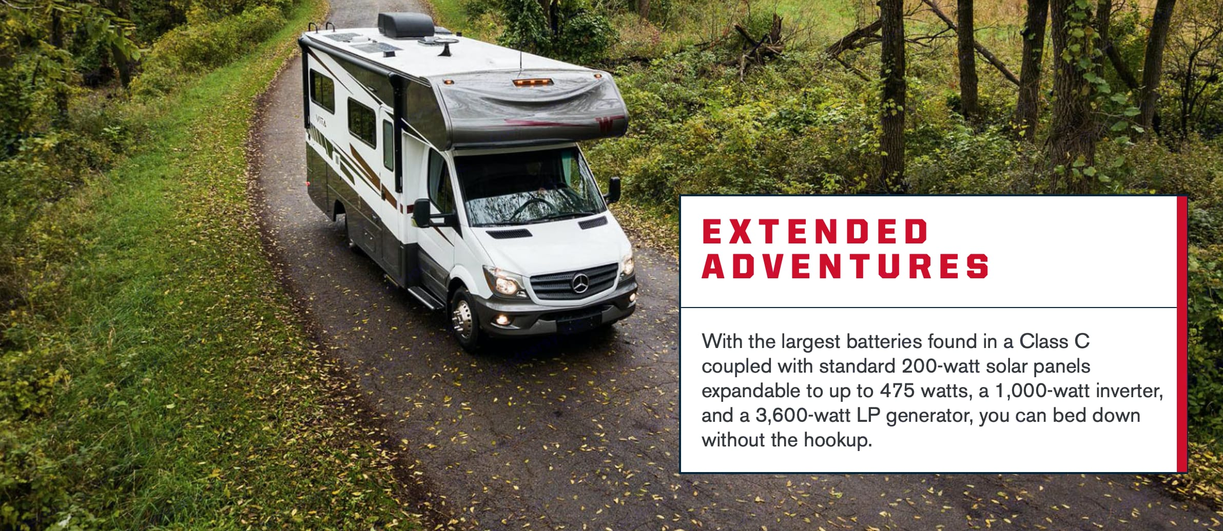 Exterior, with Solars on top, innovator and Diesel generator, perfect for off the grid glamping.. Winnebago VITA 2020