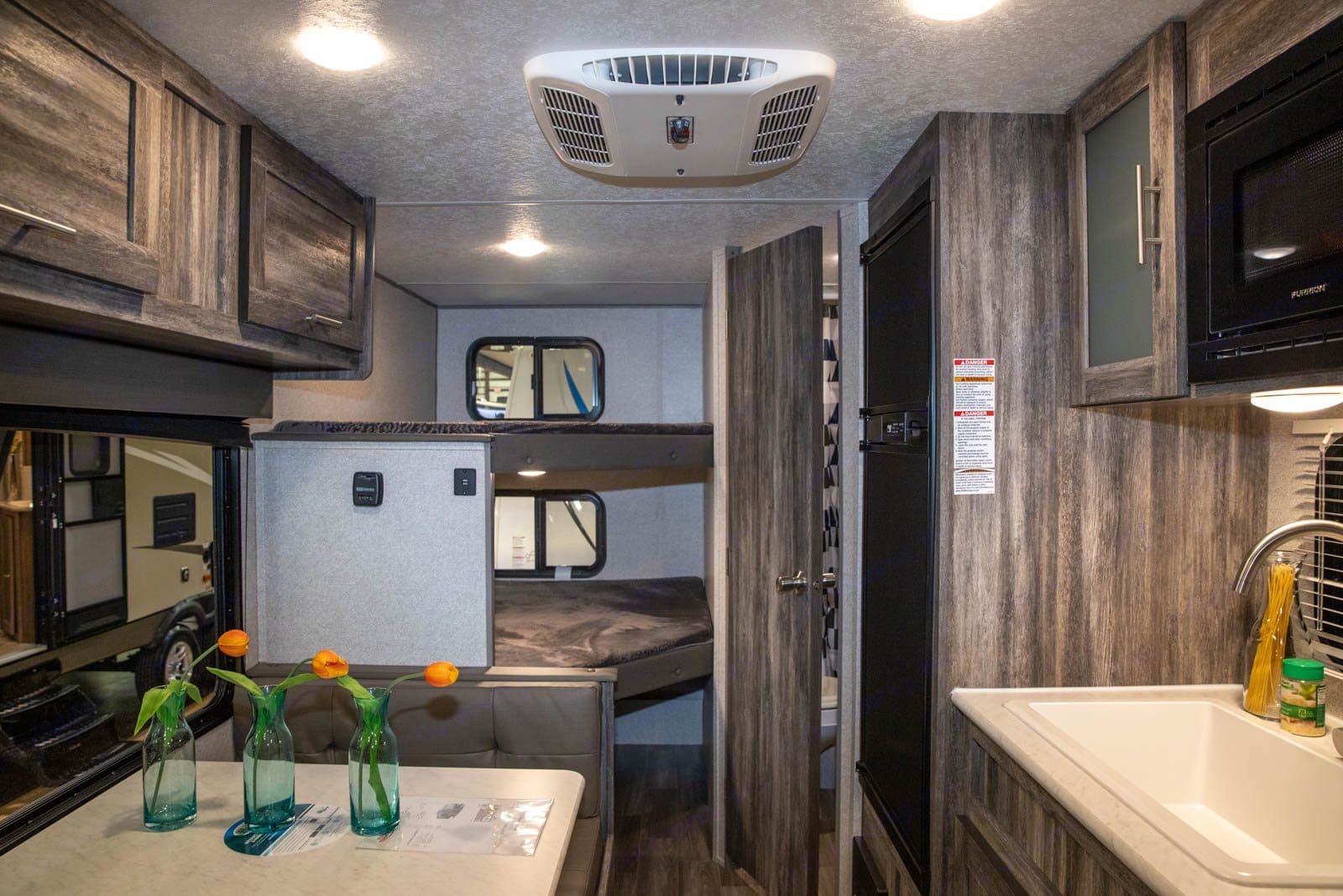Camper interior view bunks. Forest River Wildwood 2021