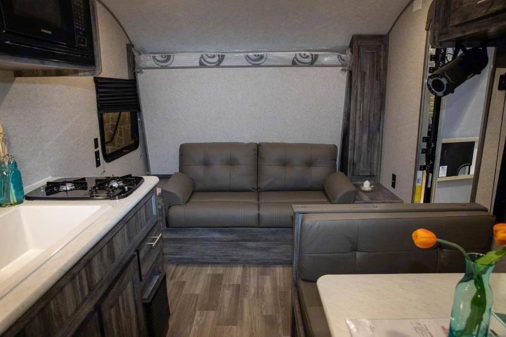 Camper interior view sofa. Forest River Wildwood 2021