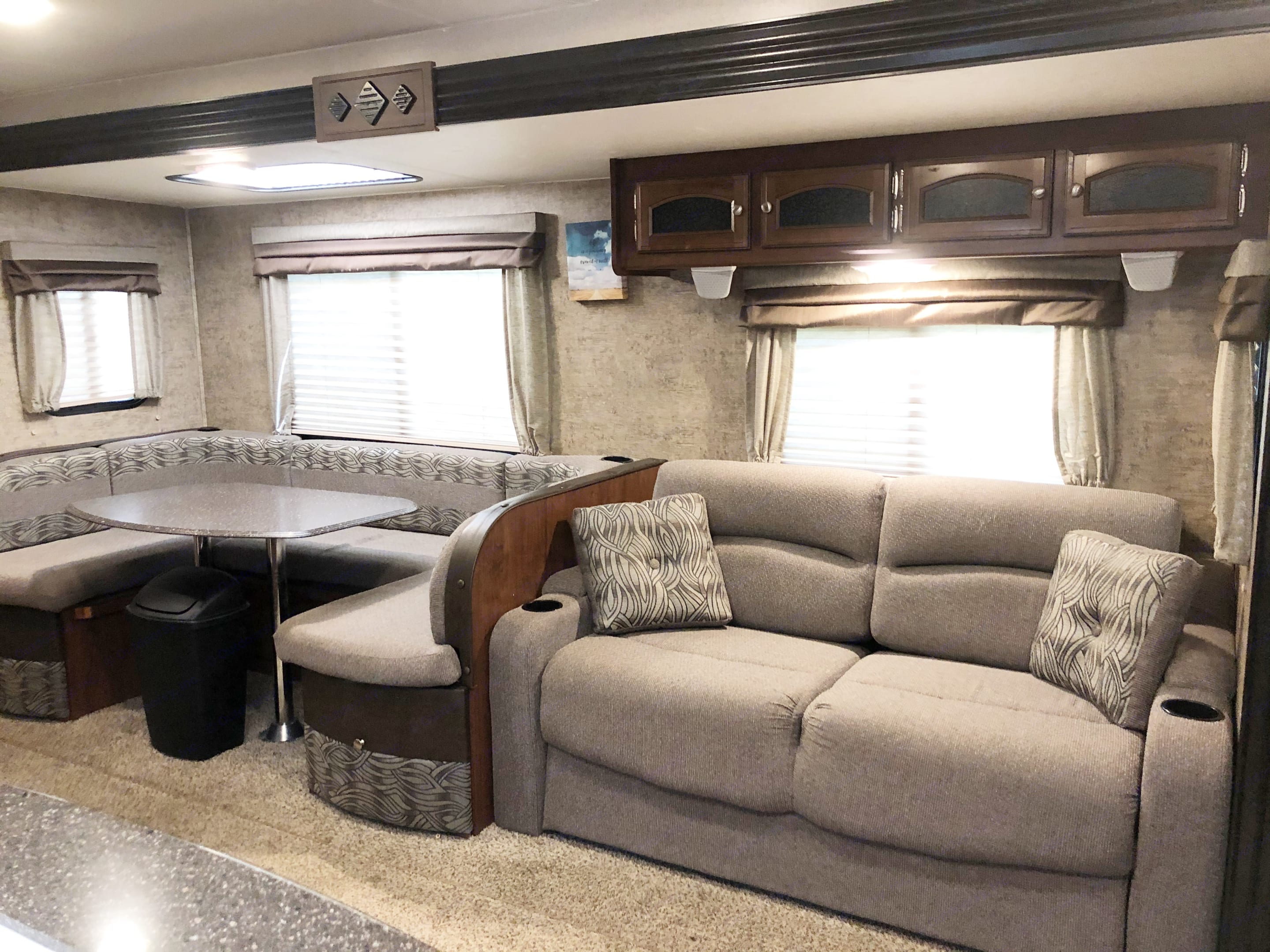 Couch and table. Coachmen Freedom Express 2017