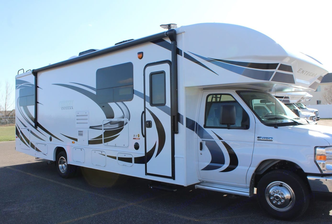 Passenger side entry to the RV. Entegra Coach Odyssey 31 F 2020