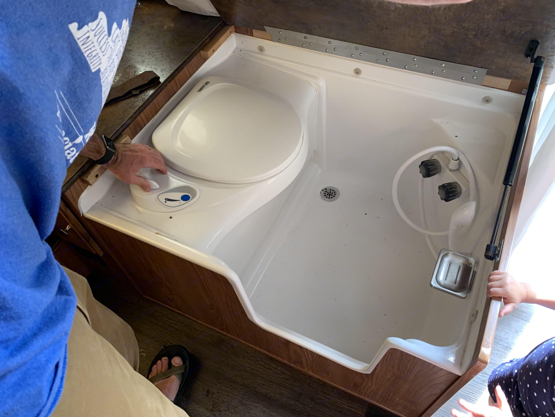Cassette toilet and indoor shower.. Forest River Rockwood Freedom 2015
