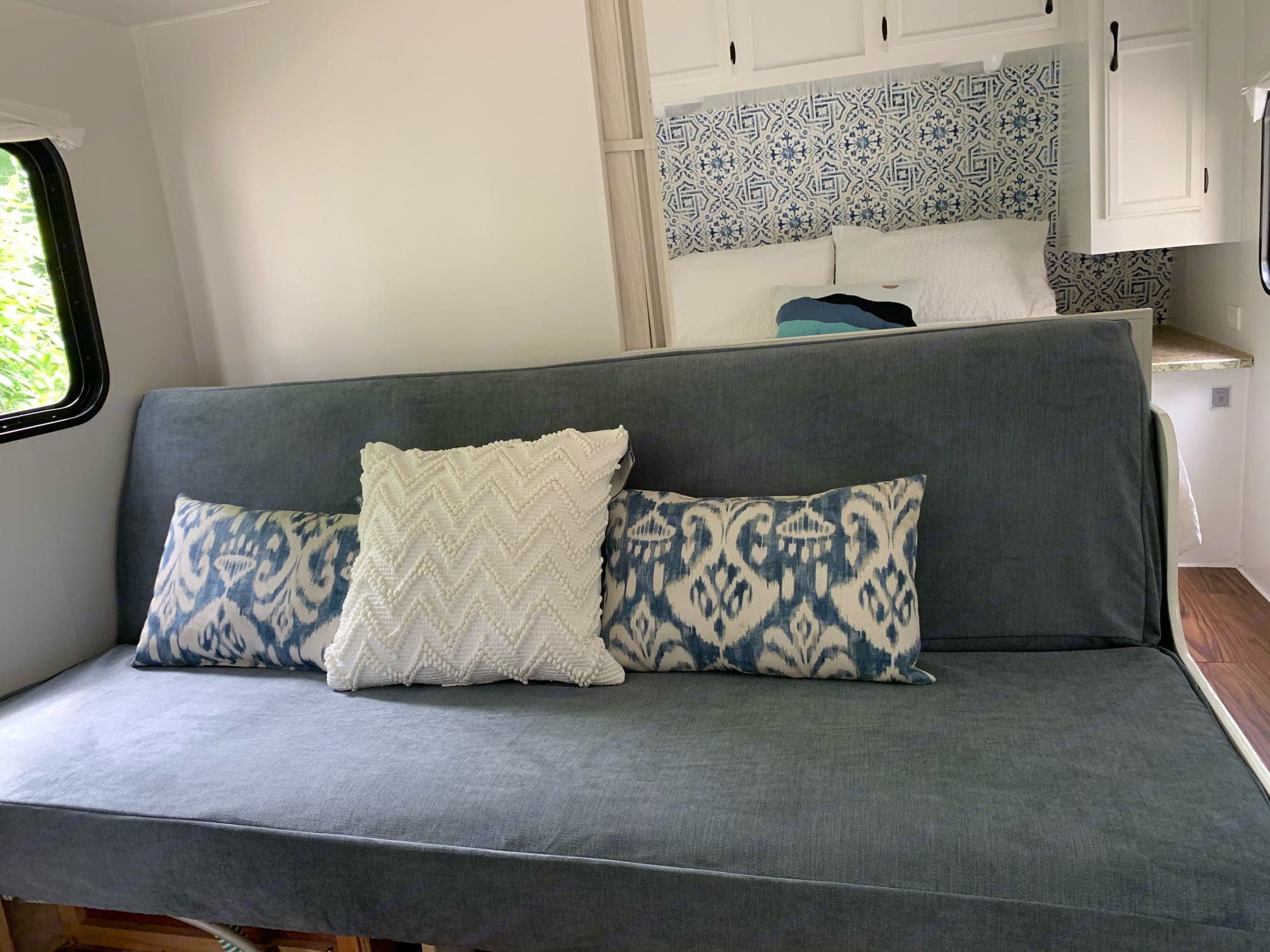 Sofa can fold down for additional sleeping space. Jayco Flight 2008