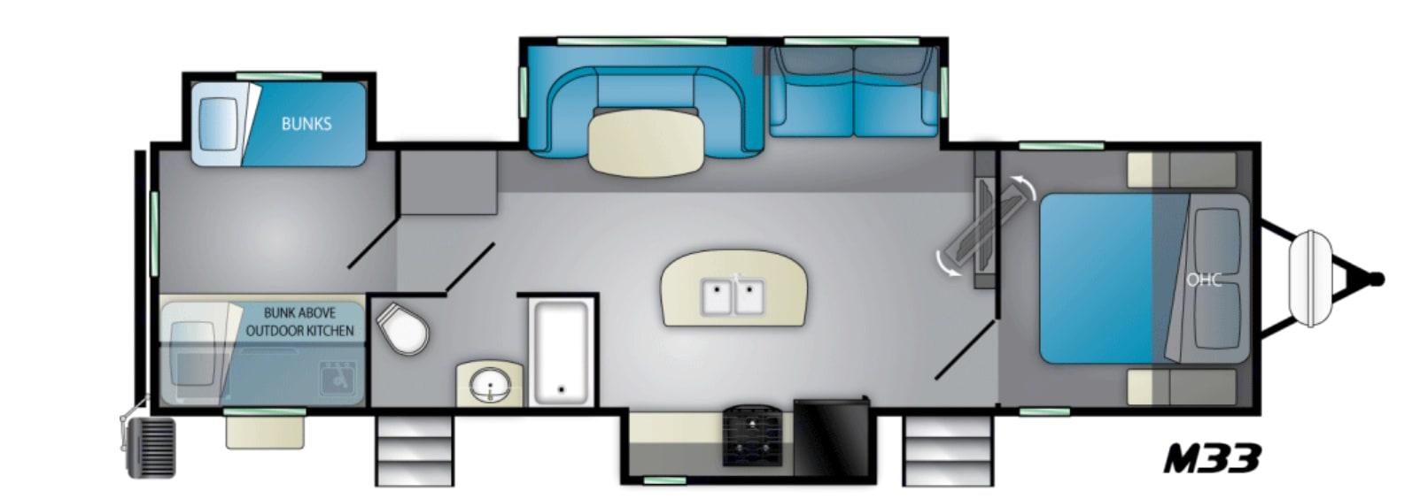 Floorplan. Heartland Mallard M33 2021