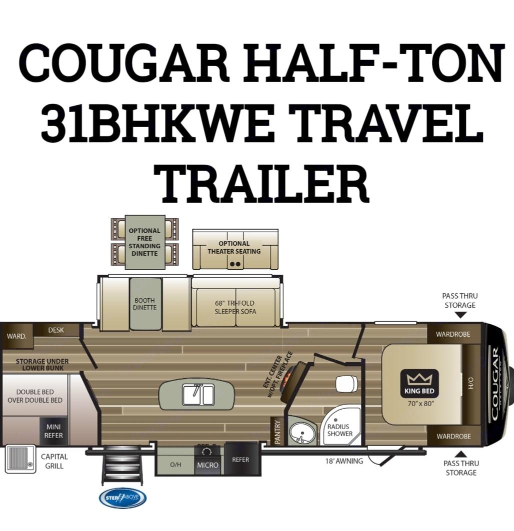 Floor plan. Keystone Cougar Half-Ton 2020