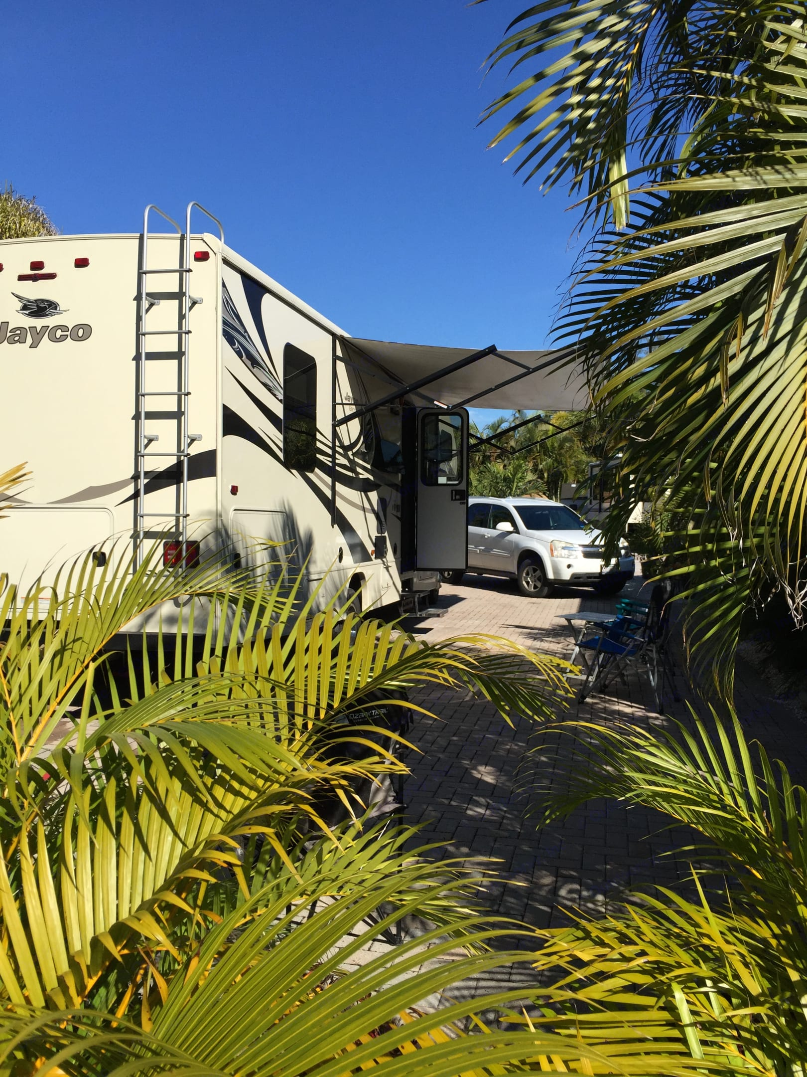 With the awning out, it's an outdoor living area. Jayco Greyhawk 2017