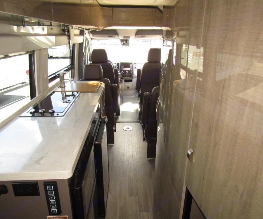 Kitchen on the left, bathroom on the right.. Winnebago Era 2019