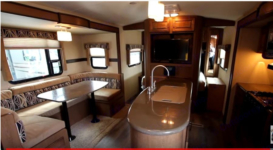 2 slides open up and make for a very spacious living room/kitchen area. Look at that island sink!!. Cruiser Rv Corp Fun Finder 2015
