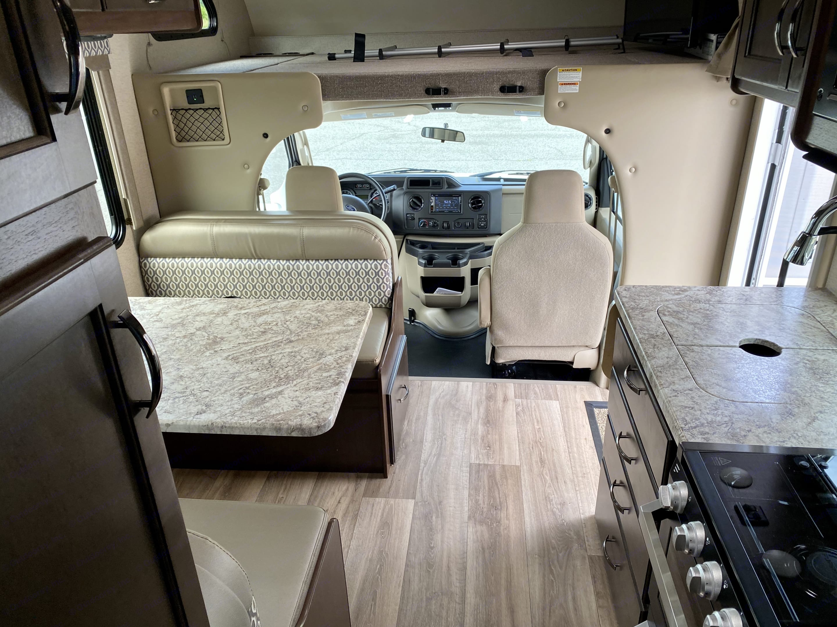View from the bathroom and rear of cabin, looking toward front. Thor Motor Coach Freedom Elite 2020