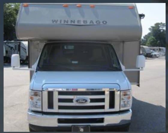 Front view--Ford 350 10 cylinder engine. About 15-18MPG. Gasoline, 55 gal tank.. Winnebago Minnie Winnie 2014