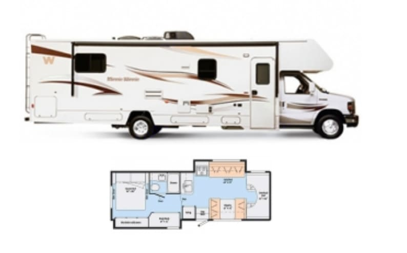 Exterior (from side) and floor plan. Note two slide-outs--one in back bedroom and one in living room.. Winnebago Minnie Winnie 2014