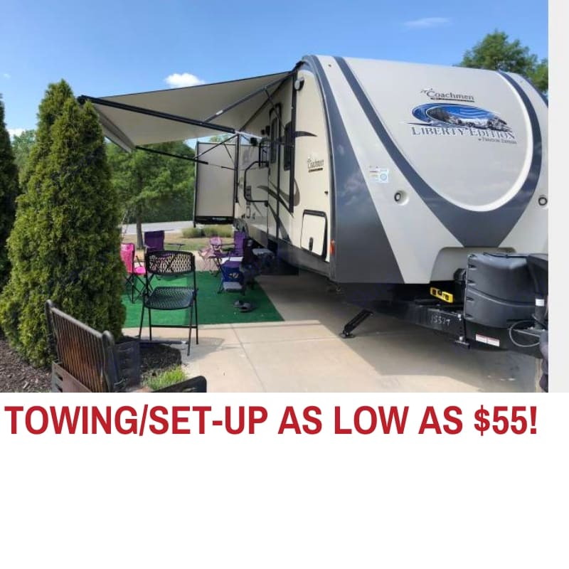 Towing and set up is $55 within 30 miles of our home in Olathe.  Additional mileage is $1.14 per mile.  . Forest River Freedom Express 2015