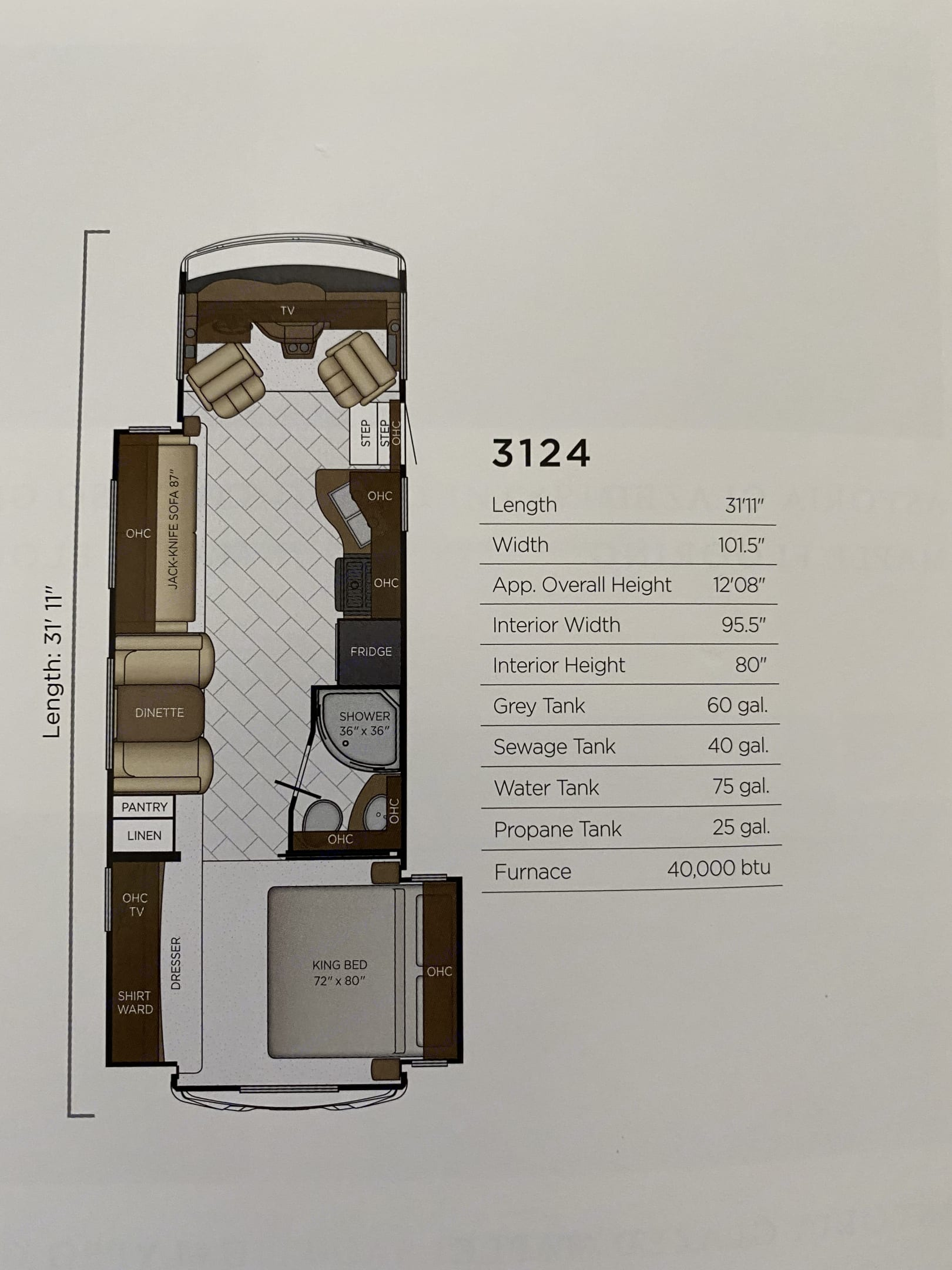 Floor Plan. Newmar Bay Star 2019