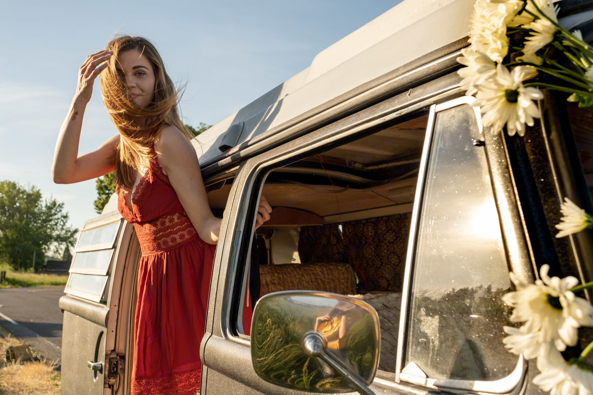 Smiling VW Bus Guest is pictured here on Sauvie Island. It is located just north of Portland. Book a VW Bus in Portland today to enjoy Sauvie Island. Volkswagen Westfalia 1971
