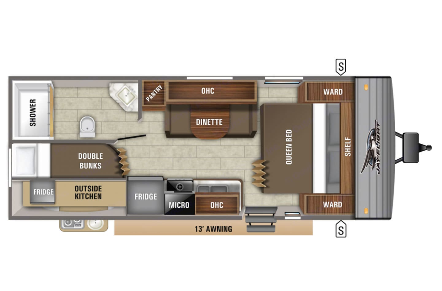 The perfect layout for a family or multiple guests with bunks in the back.. Jayco Jay Flight 2020