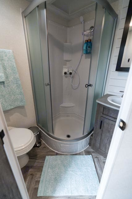 Bathroom with standup glass shower. ForestRiver Evo 2020