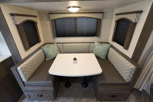 U-Shaped dinette/sleeping area for 2. ForestRiver Evo 2020