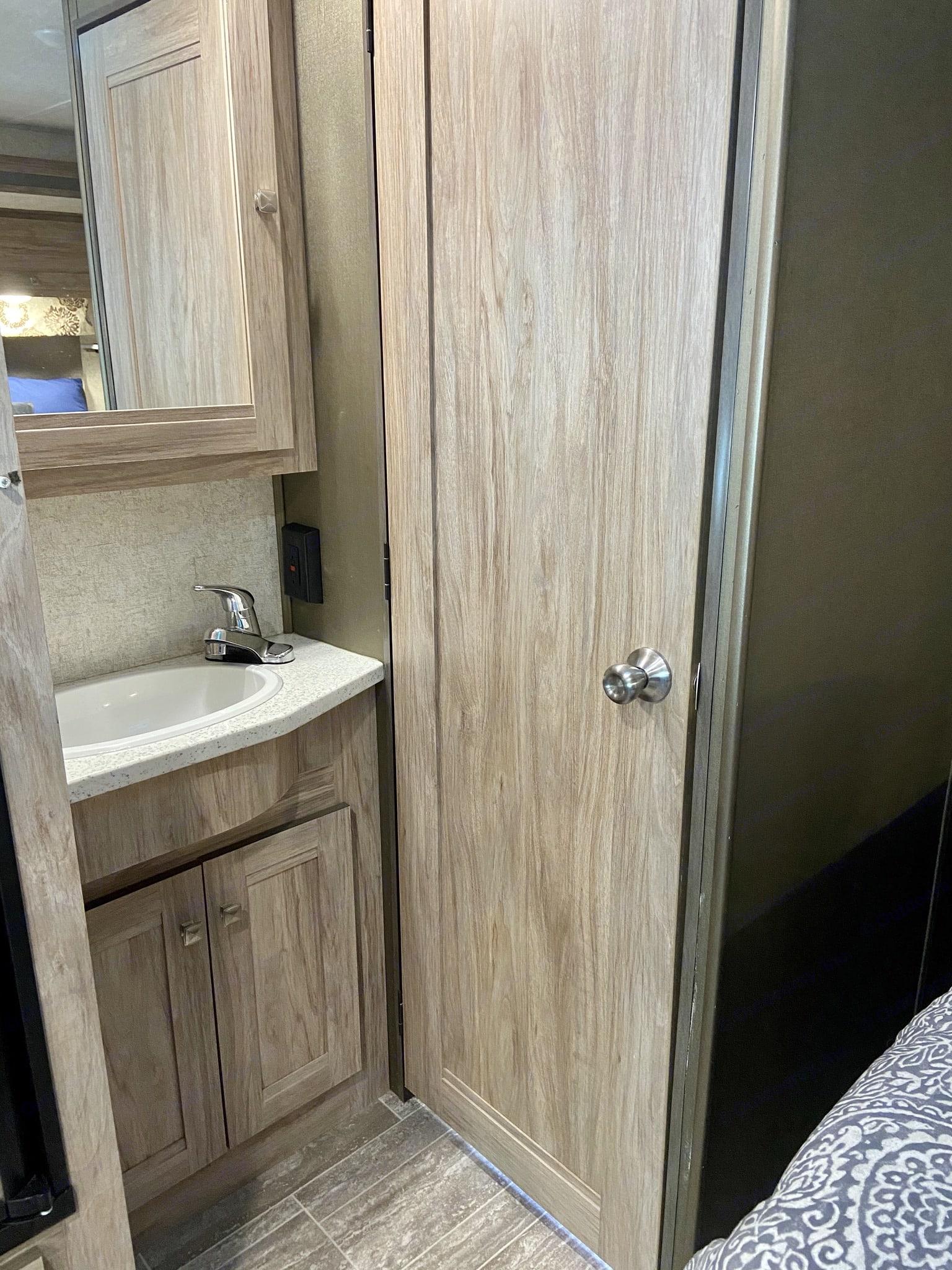 Bathroom sink. Forest River Forester 2020
