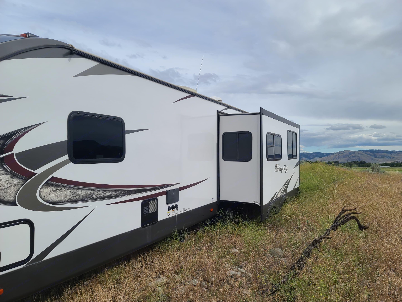 Back side of trailer showing slideout. Forest River Heritage Glen 2018