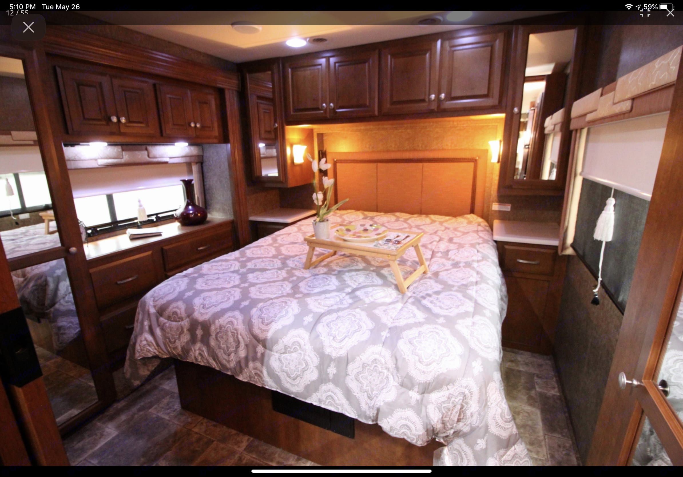 Rear walk around Queen Bed. Tons of storage space.. Thor Motor Coach Palazzo 2014