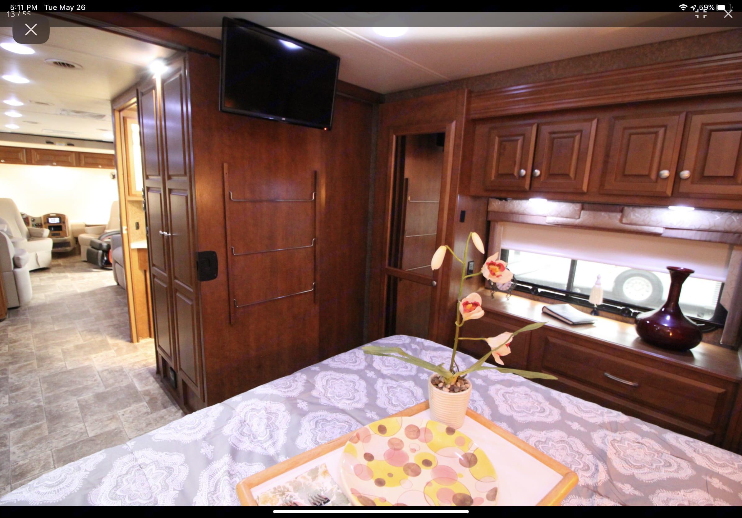 Rear bed tv/dvd. Thor Motor Coach Palazzo 2014