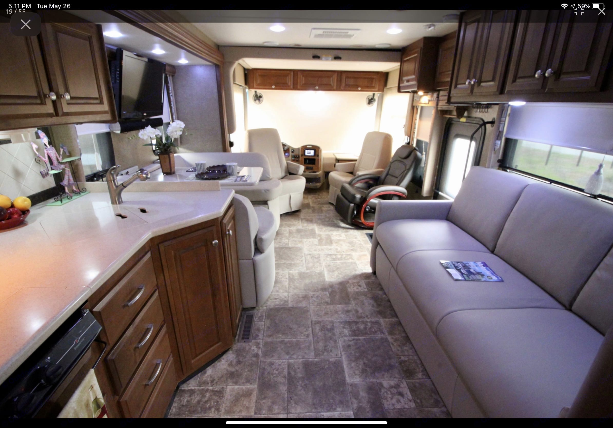 View looking to front. Thor Motor Coach Palazzo 2014