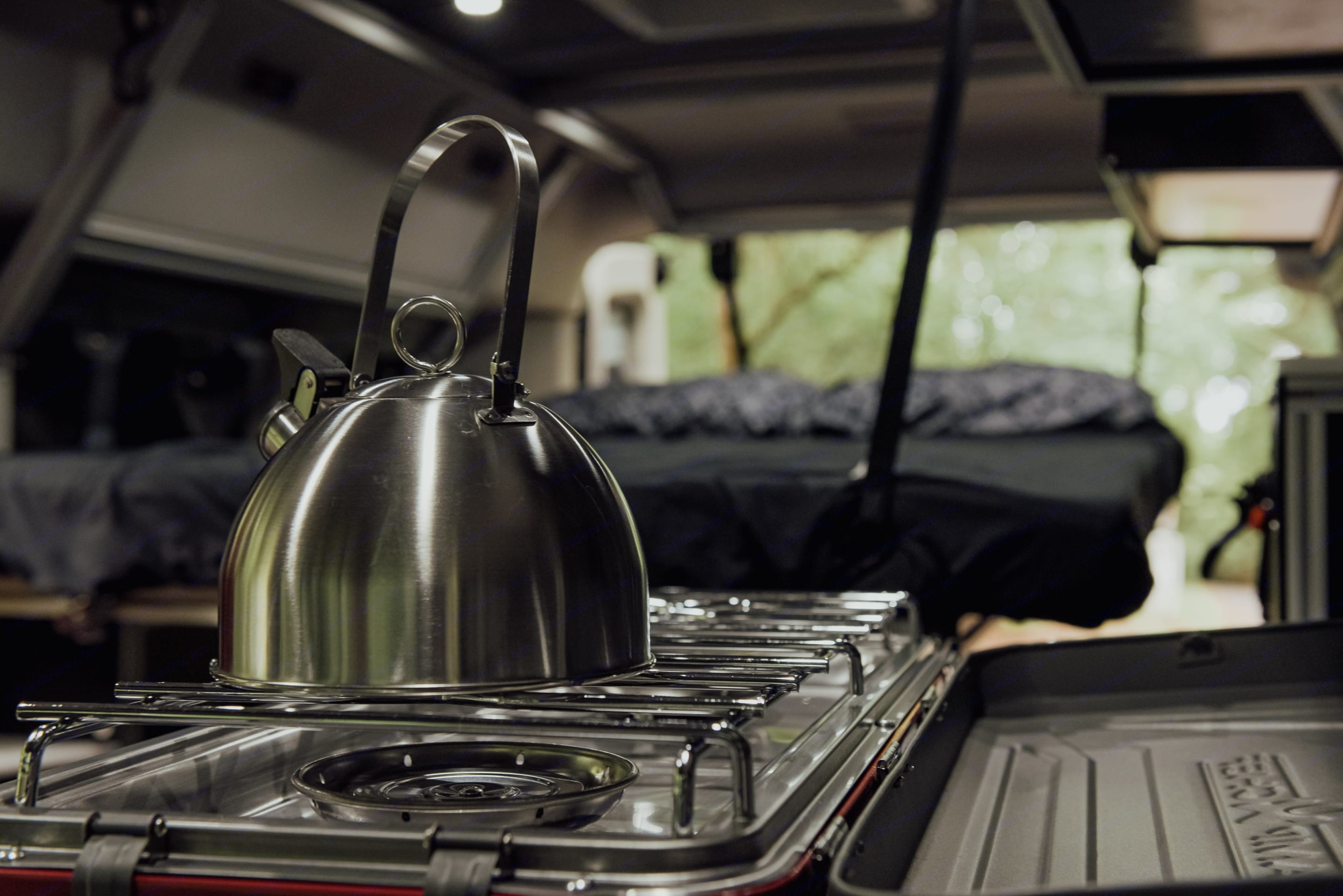 Kitchen is fully stocked with all the essentials including a two burner camp stove.. Ford Transit 2017